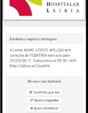 CHL relembra consultas ao utente através de sms